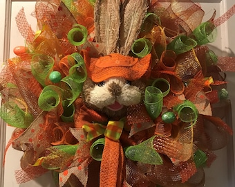 Seasonal Easter Orange Bunny Head Wreath Gift