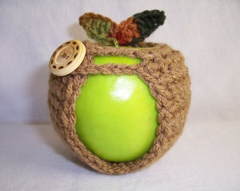 Handmade Crocheted Apple Cozy - Crochet Apple Cozy in Toasted Almond Color