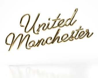 United Manchester (Gold on White) - Limited Edition Signed Print