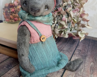 SOLD Artist bear Michelle  Teddy in the Style of Boho Chic OOAK teddy Toy Bear Girl in dress Collectible Interior Toy Romantic gift for her