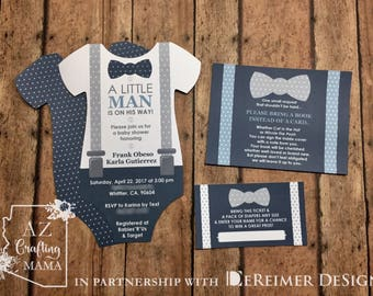 Baby Shower Onesie Invitation - Little Man - Bow Tie - Suspenders - New Baby Announcement - Blue- Gray -  QTY 20