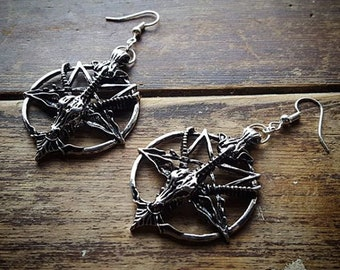 Gothic Occult Silver Tone Baphomet Earrings