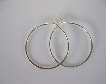 Small Sterling Silver Hoop Earrings,Handmade Sterling Silver Earrings, Sterling Silver Handcrafted Earrings, Gift