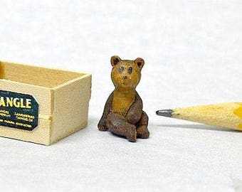 Miniature Teddy Bear hand carved wood in crate IGMA Fellow Linda Master Miracle Chicken