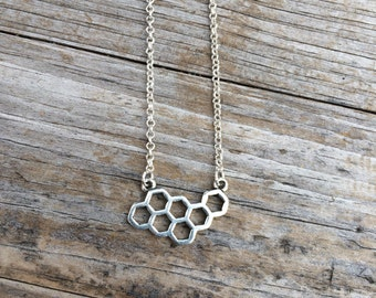 Silver Honeycomb Necklace, Honeycomb Charm Necklace, Bee Necklace, Simple Necklace, Delicate Necklace, Gifts for her