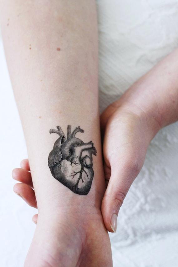 Human heart temporary tattoo vintage temporary tattoo for Where can i get a temporary tattoo