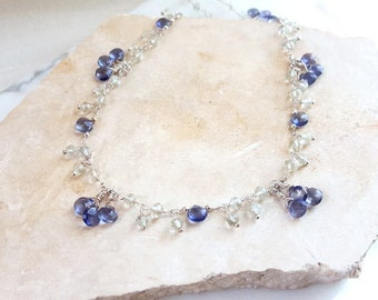 Long Gemstone Necklace Navy Blue Iolite Green Amethyst Sterling Silver Layering Chain Beaded Dangle Charm Necklace Fine Jewelry Life Bijou