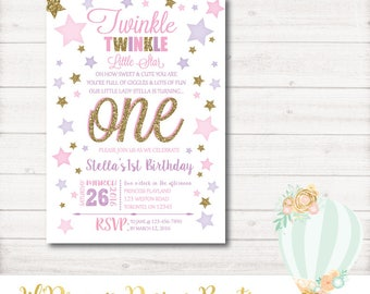 Twinkle Twinkle Little Star first birthday, Birthday Invitation Pink, Gold, Glitter, Photo, violet, Printable, Digital, 1st Birthday, Star