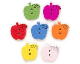 10 x Wooden Apple Buttons 16mm x 15mm