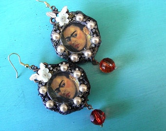 Frida Khalo Pearl/Amber Drop Earrings