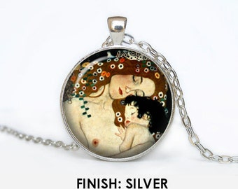 The Three Ages of Woman by Gustav Klimt Necklace, Jewelry, art gift for women handmade, art Pendant chain jewelley, gold 024