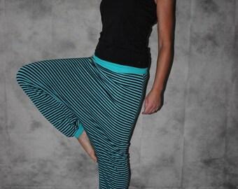 striped Bloomers  Harem Pants Sarouel pants turquoise black striped pants