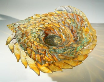 "Laurel Marie Hagner's Signature Woven Glass Art Sculpture, Abstract and Fluid, ""Amber Equinox"""