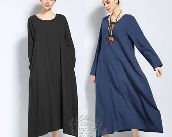 Anysize with sides pockets long-sleeved soft linen&cotton loose dress Spring Summer maxi dress plus size dress plus size clothing F146A