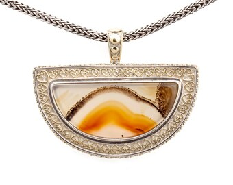 Montana Moss 1 - Pendant - Sterling Silver and 24K Gold plating - Montana Moss Agate