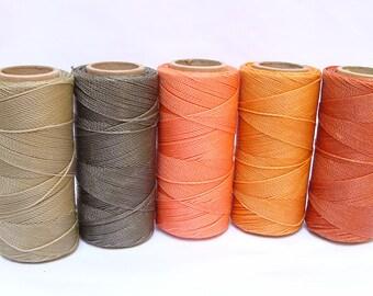 Macrame Waxed Cord - Waxed Polyester Thread - Set of 5 Spools - 188 yards each - SUNRISE