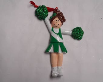 Green and White Cheerleader Personalized Christmas Ornament