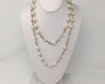 Swarovski Pink Crystal and Pearl Strand