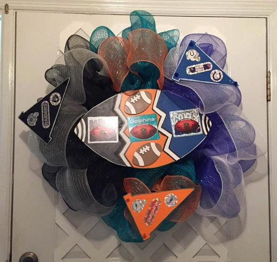 House Divided Nfl Wreath - NFL Sports - NFL Football - Miami Dolphins - Indianapolis Colts - Oakland Raiders - NFL - Professional Football