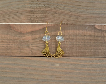 CLOSEOUT - Gold Rhinestone Dangle Earrings - Long Rhinestone Earrings - Gold Drop Earrings - Rhinestone Drop Earrings - Gold Charm Earrings
