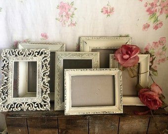 White Painted Picture Frames -  set of 6 - -  shabby chic frames - What you see is what you get, WEDDING, French Country with glass