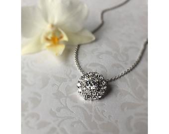 Wedding Necklace, Diamond Pendant Necklace, Crystal Bridal Necklace, Bridal Jewelry, White Gold Look,  Wedding Necklace, CZ Necklace