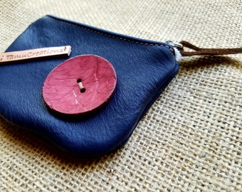 Handmade Leather Blue Pouch / Coin Purse  / Leather Blue Wallet / Credit Card Pouch / Business Card Pouch