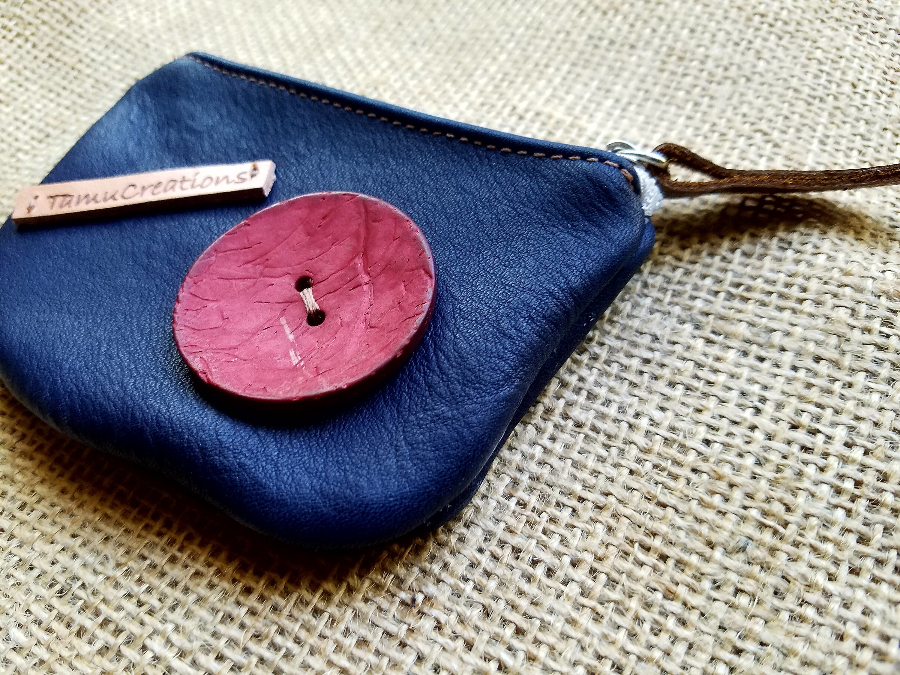 Handmade Leather Blue Pouch / Coin Purse / Leather Blue Wallet ...