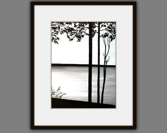 Art Prints, Contemporary art, Landscape Painting, Modern Art, Wall Art, Black and White Painting