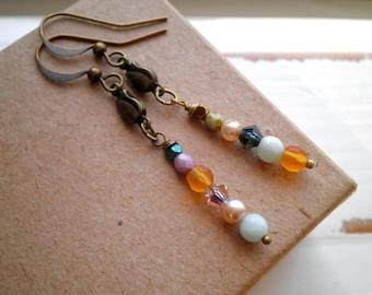 Bohemian Dangle Earrings - Czech Glass Crystal Stone & Pearl Bead Stack Earrings - Modern Boho Beaded Dangles Jewelry Stocking Gift For Her