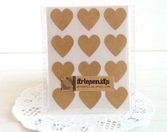 108 Kraft brown heart stickers - 3/4 inch heart stickers - brown kraft hearts envelope seals