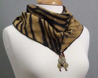 Infinity Scarf Black Gold Arashi Shibori Tiger Stripe African Trade Beads Brass Tabular READY TO SHIP
