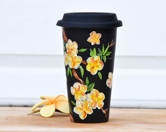 Chalkboard  Ceramic Travel Mug - Plumeria Made to Order cup - Hand Painted Porcelain Eco Cup - Black Silicon Lid