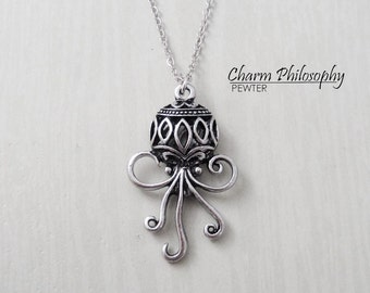Octopus Necklace - Antique Silver Jewelry - Under Water Animals Jewelry