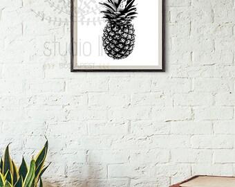 Pineapple Printable, Modern Art, black and white printable, black pineapple, Abstract Art Home Decor, minimalist printable, pineapple print