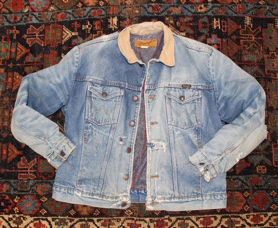 Denim Striped Jacket Trucker Wrangler Vintage Blanket Distressed workwear Thrashed Rustic Lined Large Jean Western vzxaBxq