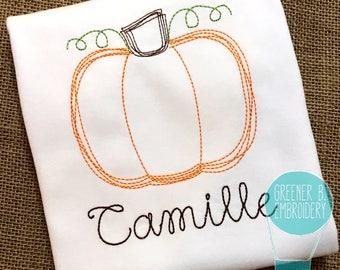Personalized Pumpkin Shirt / Vintage Stitch Pumpkin / Thanksgiving Shirt / Pumpkin Embroidery / Baby Thanksgiving / Girl Pumpkin