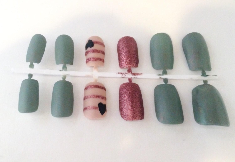 Mate Fake Nails uñas postizas náutica Glitter uñas