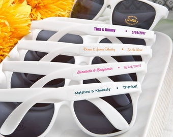 Personalized White Sunglasses, Customized Sunglass Favors, Beach Party Favors, Wedding Favors (6777ST)