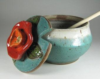 Honey Pot -pottery Honey Jar -Honey -Jar Honey -Ceramic Honey Jar - turqouise Honey Jar -HoneyPot - Honey Pot -InStock