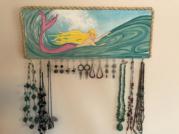 Mermaid Jewelry Wall Organizer Jewelry Holder Nautical
