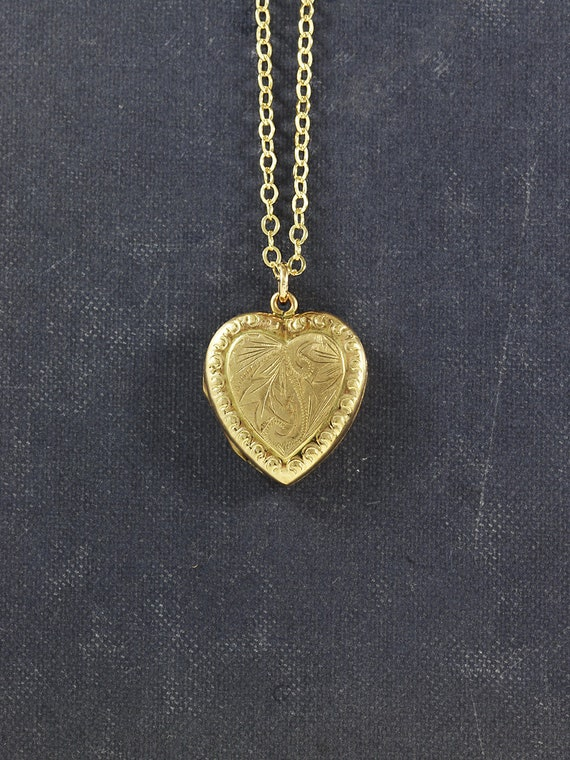 Vintage 9ct Gold Heart Locket Necklace, Border Embossed Fancy Engraved Photo Pendant - My Love