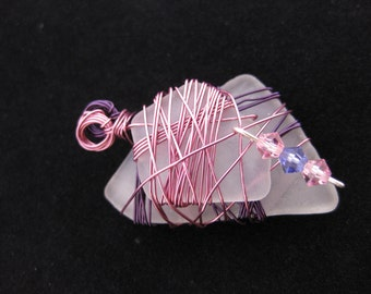 Wire Wrapped Sea Glass Pendant - 2pcs Frosted White / Clear Seaglass with Pink and Purple Soft Copper Wire Wrapping & Swarovski Crystals