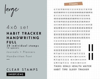 STMP-4X6-043 - Habit Tracker Handwriting Full | 4x6 | Planner, Journal, and Scrapbooking Clear Stamp Kit