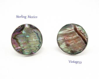 Earrings Abalone Sterling Made in Mexico Vintage