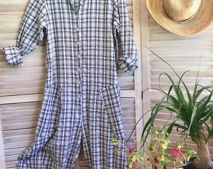 Grey plaid seersucker cotton jumpsuit