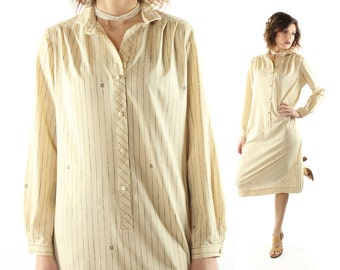 Vintage 70s Long Sleeve Dress Pierre Balmain Button Up Shirt Tan Ivory Striped Monogram 1970s Medium M Large L