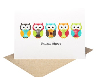 Thank You Card   5 Bright Owls   Greeting Card Thank You    Owl Card   Thank You Greeting Card   Card Thank You   Handmade Card   THY026