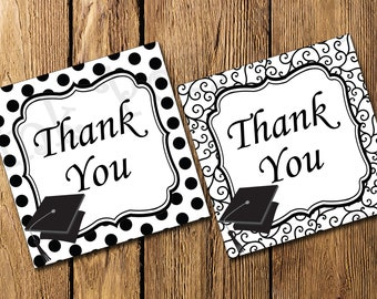 Printable Black and White Graduation Thank You Tags - Instant Download