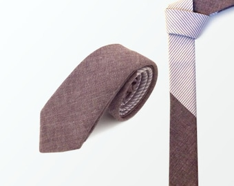 Men's Tie Skinny, Lilac Chambray and Lilac Stripe Cotton Skinny Necktie for Men, Wedding and Gift / READY TO SHIP